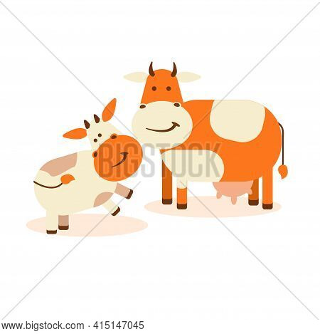 A Cow With A Calf On A White Isolated Background. Vector Flat Illustration