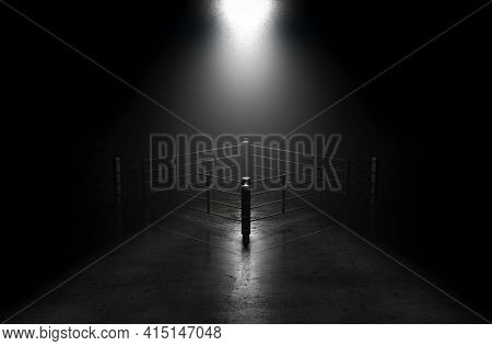 A Concept Showing A Boxing Ring On A Reflective Concrete Lined Floor Backlit By A Single Honeycomb S