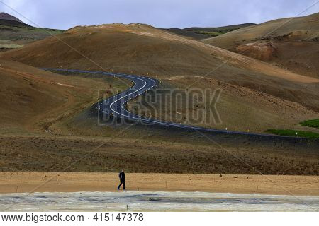 Hverir / Iceland - August 30, 2017: The Road To Hverir Area Near Namafjall Mountain, Myvatn Lake Are