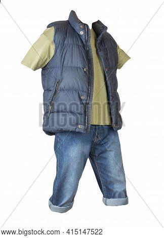 Denim Dark Blue Shorts, T-shirt  And Dark Blue Jacket Without Sleeves Isolated On White Background