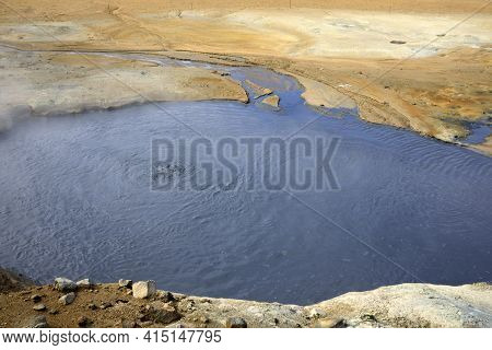 Hverir / Iceland - August 30, 2017: Hot Water At Hverir Geothermal Area Near Namafjall Mountain, Myv