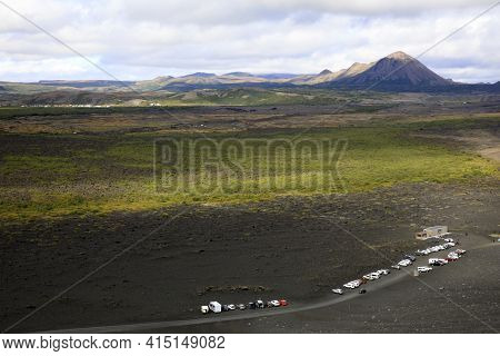 Myvatn / Iceland - August 30, 2017: Landscape View From Volcano Hiverfjall, Iceland, Europe