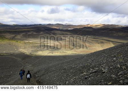 Myvatn / Iceland - August 30, 2017: Tourists On Pathway To Hiverfjall Volcano, Iceland, Europe