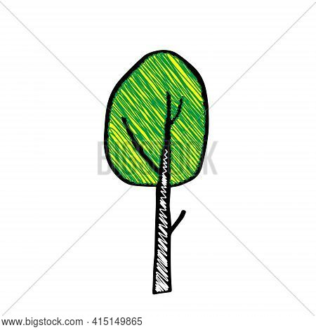 Black Outline Hand Drawing Vector Illustration Of A Deciduous Birch Tree With Yellow And Green Scrib