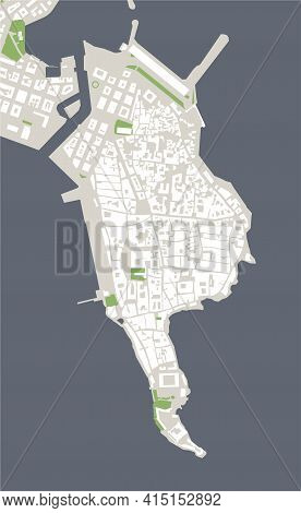 Map Of The City Of Syracuse, Italy