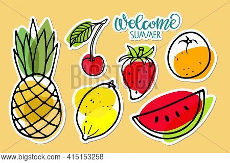 Summer Seasonal Fruit Sticker Set. Welcome Summer Text. Watermelon, Pineapple, Strawberry, Lemon, Or