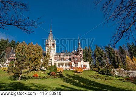 Sinaia, Prahova, Romania, October 2015: Beautiful Famous Peles Royal Castle And Ornamental Garden In