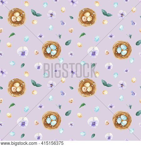 Watercolor Easter Seamless Pattern. Eggs In Nest Spring Flower Background