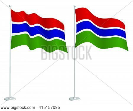 Flag Of Gambia On Flagpole Waving In Wind. Holiday Design Element. Checkpoint For Map Symbols. Isola