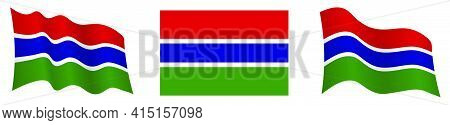 Flag Of Gambia In Static Position And In Motion, Fluttering In Wind In Exact Colors And Sizes, On Wh