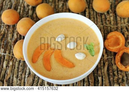 The Apricot Mousse Is Ready. Before Serving, Add Apricot Wedges And Apricot Kernels To The Dessert.