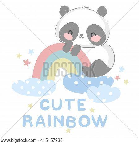 Cute Panda Bear Vector Illustration Hand Drawn Panda With Rainbow Design Print For T-shirt