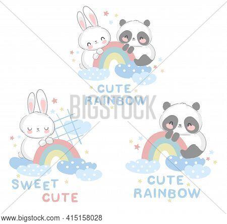 Cute Panda Bear And Rabbit Vector Illustration Hand Drawn Bunny And Panda Child With Rainbow Design