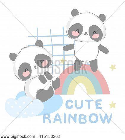 Cute Happy Panda Bear Vector Illustration Hand Drawn Panda With Rainbow Design Print For T-shirt