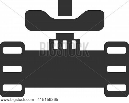 Icon Of A Pipe With A Gate Valve. Black Silhouette.