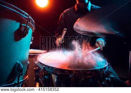 Drummers Rehearsing On Drums Before Rock Concert. Man Recording Music On Drumset In Studio