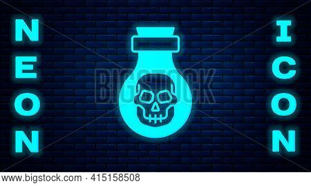 Glowing Neon Poison In Bottle Icon Isolated On Brick Wall Background. Bottle Of Poison Or Poisonous