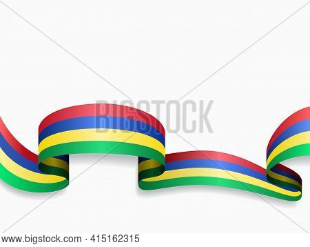 Mauritius Flag Wavy Abstract Background. Vector Illustration.