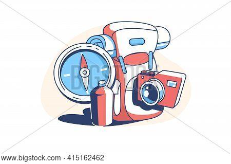 Set For Travel Vector Illustration. Compass Bottle