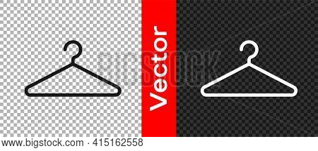 Black Hanger Wardrobe Icon Isolated On Transparent Background. Cloakroom Icon. Clothes Service Symbo