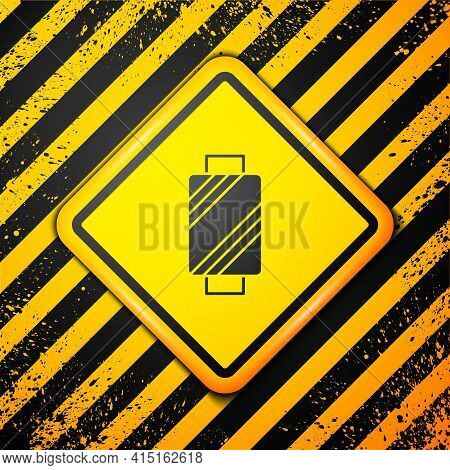 Black Sewing Thread On Spool Icon Isolated On Yellow Background. Yarn Spool. Thread Bobbin. Warning