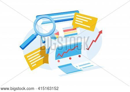 Monthly Business Report Vector Illustration. Diagrams And