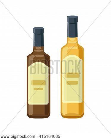 Apple Vinegar Bottles Isolated On White Background. Vector Illustration In Flat Design.