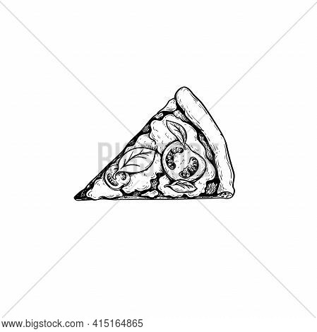 Pizza Margherita (margarita) Piece. Top View. Hand Drawn Sketch Style Drawing. Traditional Italian F