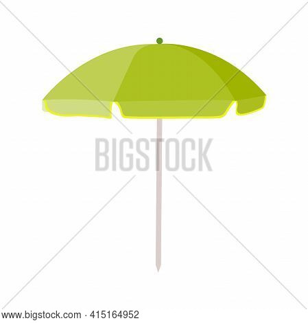 Green Beach Umbrella. Umbrella For A Holiday At The Sea. Relax By The Pool. An Umbrella From The Sun