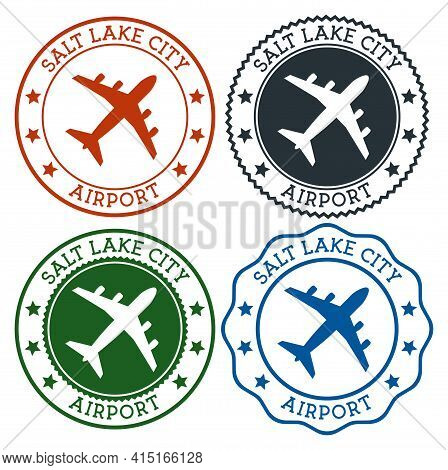 Salt Lake City Airport. Salt Lake City Airport Logo. Flat Stamps In Material Color Palette. Vector I