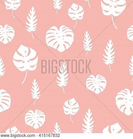 Delicate Pink Seamless Pattern With White Tropical Leaves. Vector Pattern For Fabrics, Women S And C