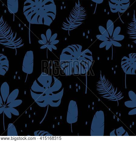 Dark Blue Seamless Pattern With Blue Tropical Leaves And Flowers. Vector Pattern For Fabrics, Clothe