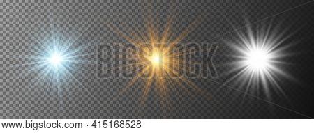 Set Of Realistic Starburst Lighting Isolated On Transparent Background. Glow Blue, Yellow, White Lig