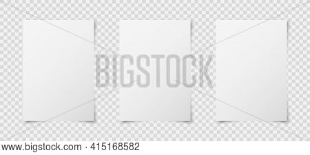 Set Of Three White Realistic Blank Paper Page With Shadow Isolated On Transparent Background. A4 Siz