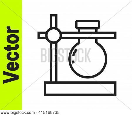 Black Line Glass Test Tube Flask On Stand Icon Isolated On White Background. Laboratory Equipment. V