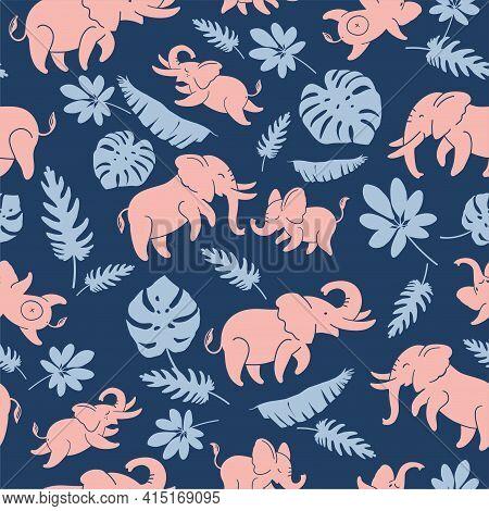 Pink Funny Elephants On A Dark Blue Background - Seamless