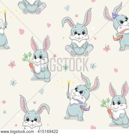 Cartoon Cute Rabbit Seamless Vector Pattern. Gray Rabbit With Red Carrot Childrens Fashionable Fabri
