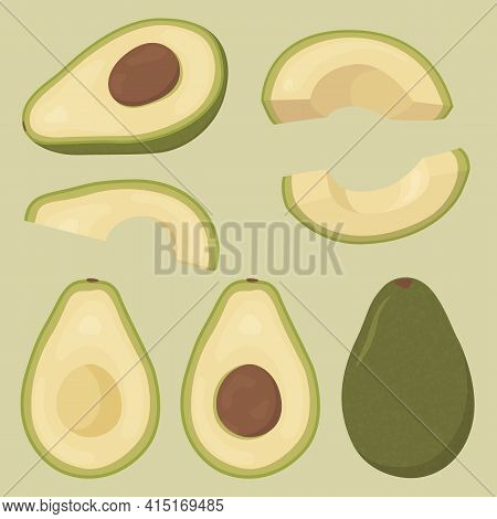 Set Of Fresh Whole, Half, Cut Slice Avocado Isolated On Background. Fruits For Healthy Lifestyle. Or