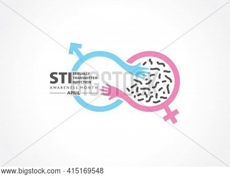 Vector Illustration Of Sexually Transmitted Diseases Or Infection Awareness Month Observed In April