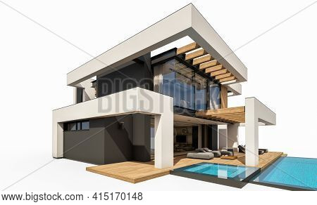 3D Rendering Of Modern House In Luxurious Style Isolated On White