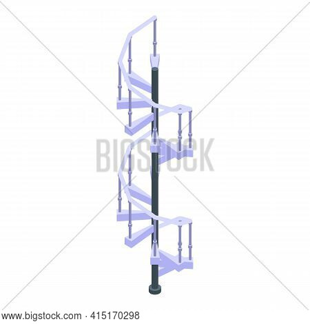 Rotate Spiral Staircase Icon. Isometric Of Rotate Spiral Staircase Vector Icon For Web Design Isolat