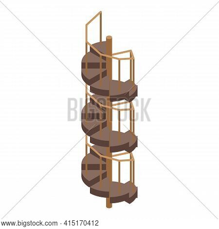 Wood Spiral Staircase Icon. Isometric Of Wood Spiral Staircase Vector Icon For Web Design Isolated O
