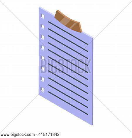 Memo Board Paper Icon. Isometric Of Memo Board Paper Vector Icon For Web Design Isolated On White Ba