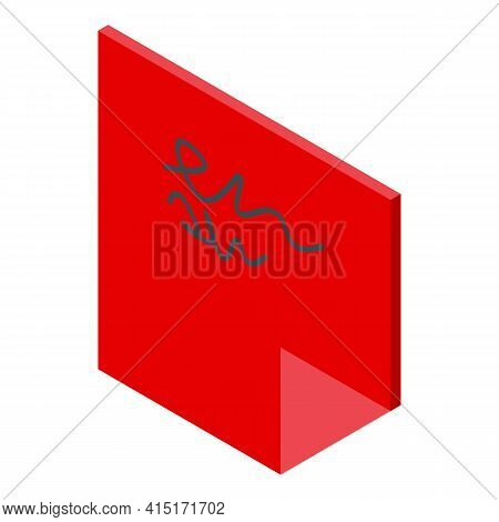 Red Sticky Icon. Isometric Of Red Sticky Vector Icon For Web Design Isolated On White Background