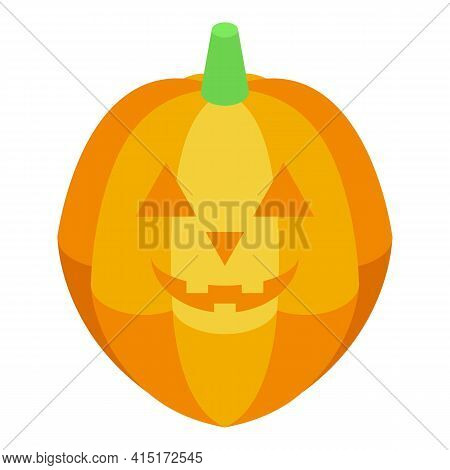 Creepy Pumpkin Icon. Isometric Of Creepy Pumpkin Vector Icon For Web Design Isolated On White Backgr