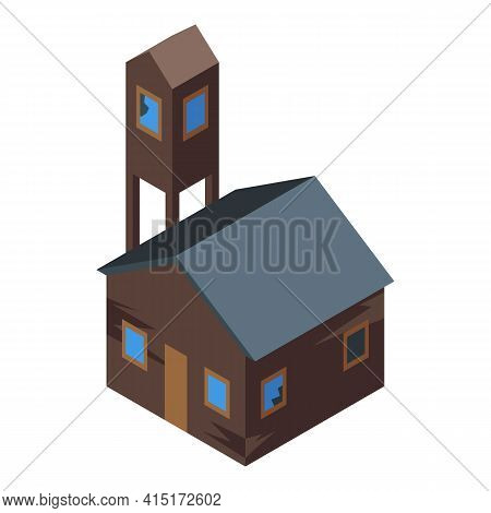 Creepy House Ghost Icon. Isometric Of Creepy House Ghost Vector Icon For Web Design Isolated On Whit