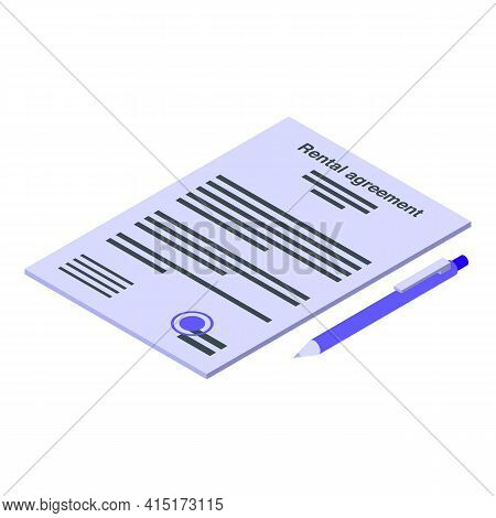 Rental Agreement Icon. Isometric Of Rental Agreement Vector Icon For Web Design Isolated On White Ba