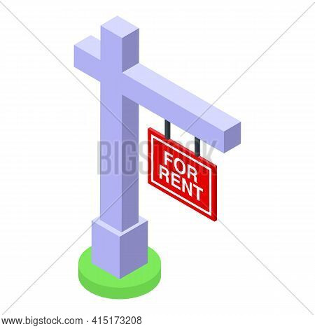 For Rent Street Pillar Icon. Isometric Of For Rent Street Pillar Vector Icon For Web Design Isolated