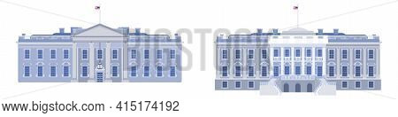 Two Views Of The White House Beautiful Presidential Building. Vector Flat Style
