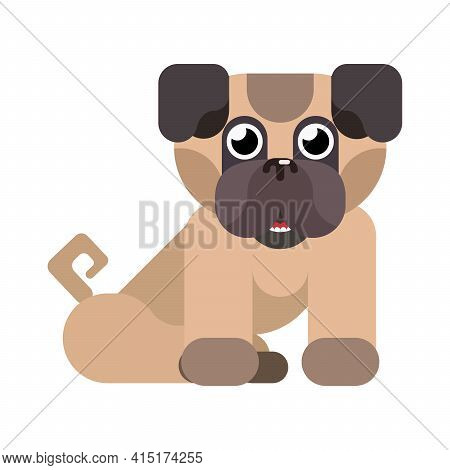 Cheerful Little Doggie Pug Sits On A White Background. Vector Flat Style